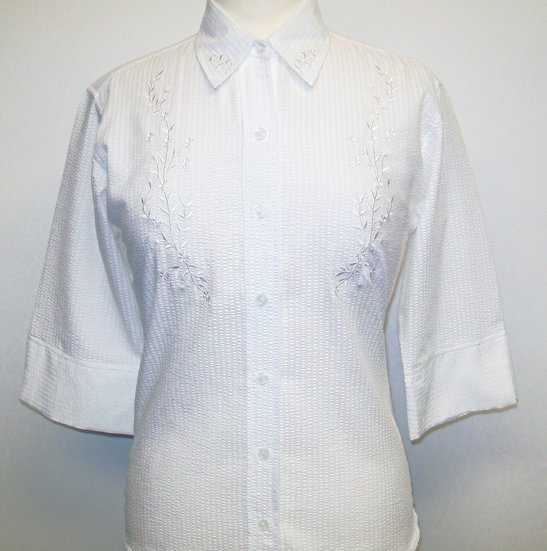 Ladies White Seersucker Shirt - Embroidered Flowers  - 3/4 Sleeve Relaxed Fit