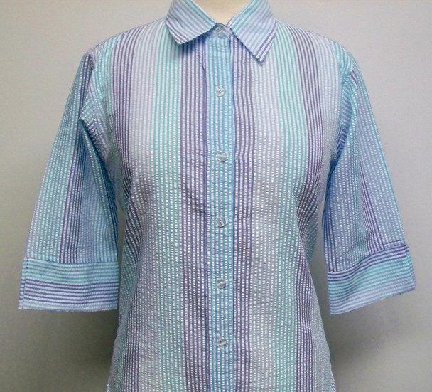 Ladies three colour Blue Stripe Seersucker Shirt - 3/4 Sleeve Relax Fit