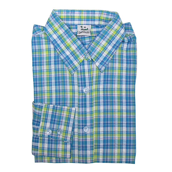 Lime, blue and white cowboy check seersucker 3/4 sleeve relaxed fit shirt_Folded