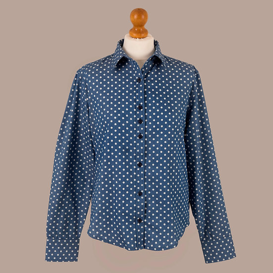 Ladies Grenouille, Denim spotted print, relaxed fitted shirt