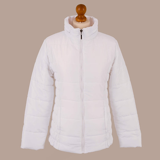 Plain bright white hooded jacket