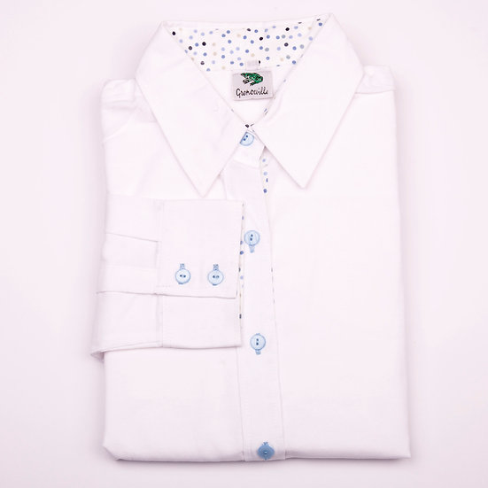 White oxford with multi blue spot insert detail relaxed fit shirt_Folded