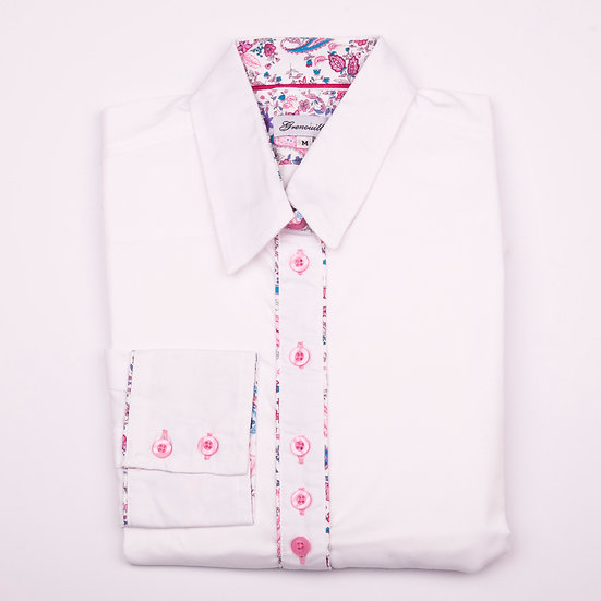 White oxford with cerise pink and blue paisley insert detail shaped shirt_Folded