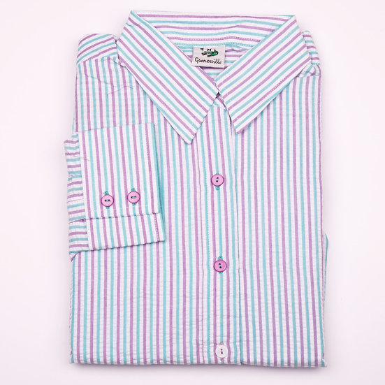 Lilac and aqua stripe seersucker long sleeve relaxed fit shirt_Folded