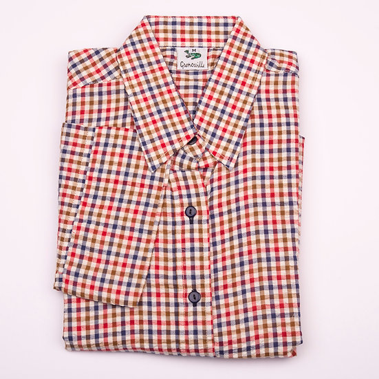 Beige, brown, red and navy check seersucker 3/4 sleeve relaxed fit shirt_Folded