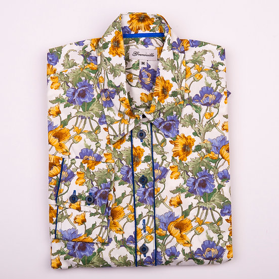 Blue and yellow anemone print relaxed fit shirt_Folded