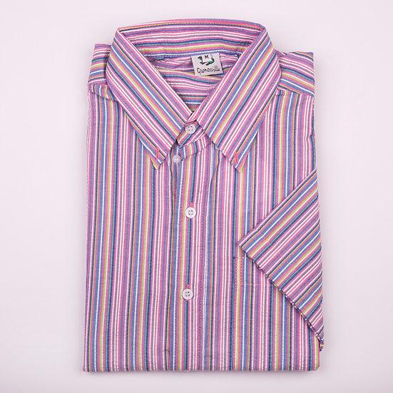 Pink, Blue and Lime Multi Stripe seersucker men's short sleeve shirt