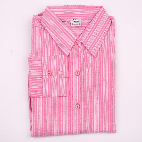 Pink multi stripe seersucker long sleeve relaxed fit shirt_Folded