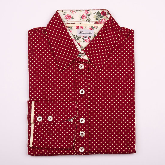 Maroon spot with small red roses on cream fabric insert details shaped fit shirt_Folded