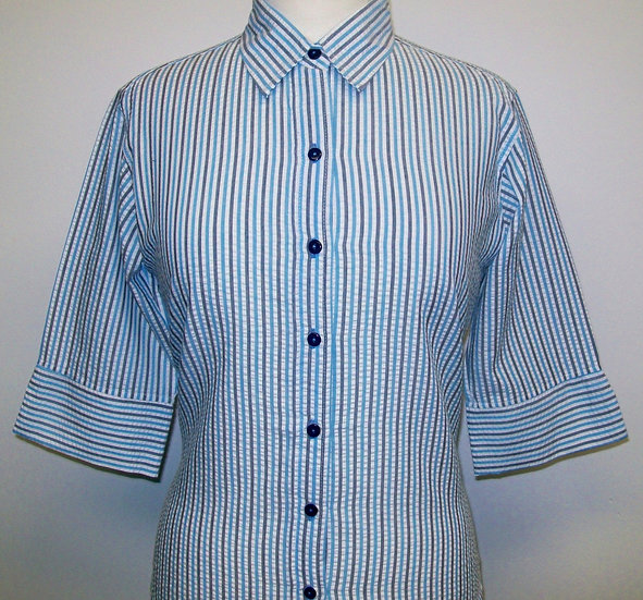 Ladies Turquoise/Grey/White Stripe Seersucker Shirt - 3/4 Sleeve Relaxed Fit