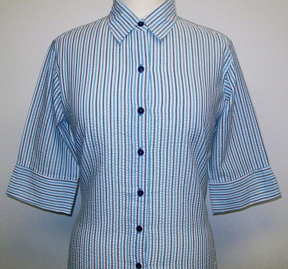 Ladies Turquoise/Grey/White Seersucker Shirt - 3/4 Sleeve - small