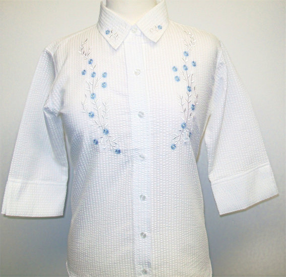 Ladies White Seersucker  - Blue Embroidered Flowers  - 3/4 Sleeve Relaxed Fit