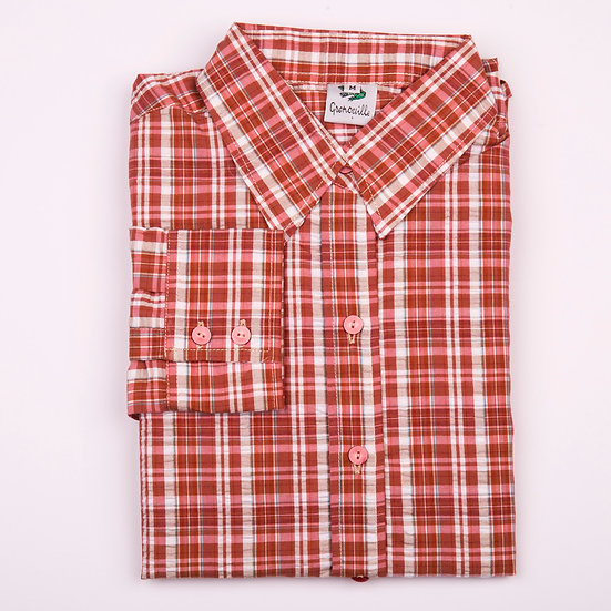 Brick red and white check seersucker long sleeve relaxed fit shirt_Folded