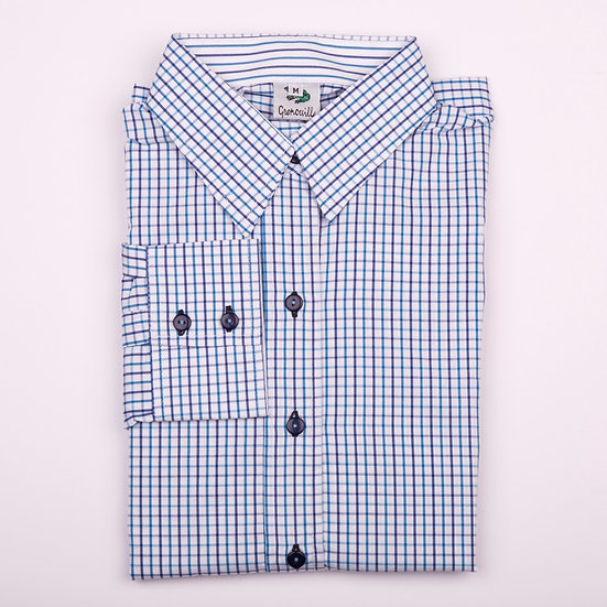 Navy and blue tattersall check easy care relaxed fit shirt_Folded