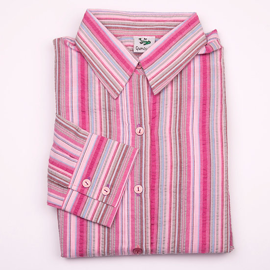 Pink, grey and blue multi stripe seersucker long sleeve relaxed fit shirt_Folded