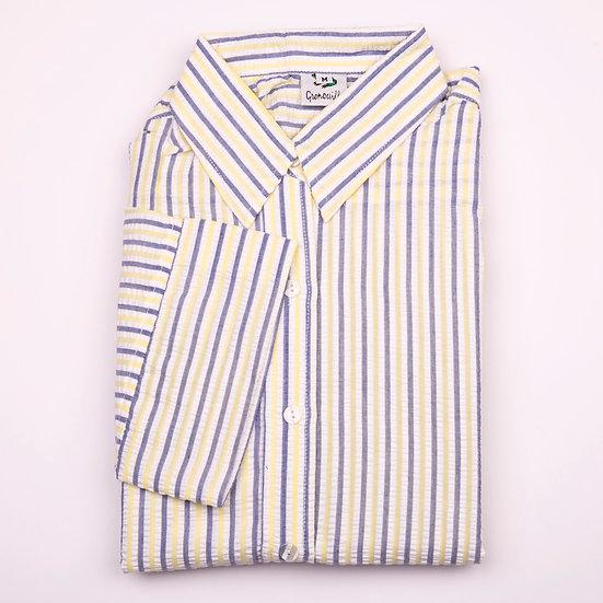 Lemon, white and blue stripe seersucker 3/4 sleeve relaxed fit shirt_Folded