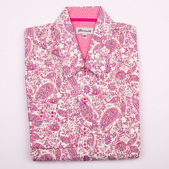 Dusky pink paisley print shaped fit_Folded