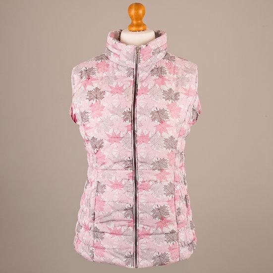 Hooded Gilet - Pink, grey leaves