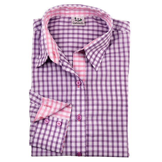 Ladies lilac & white checked shirt  - Relaxed fit - 2282 lilac