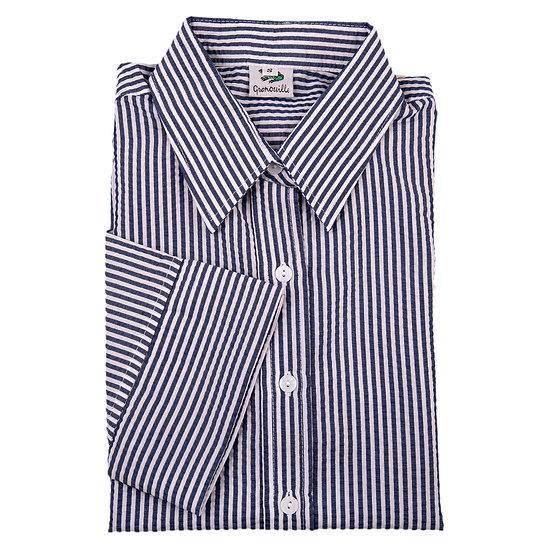 Ladies navy and white Stripe Seersucker - 3/4 sleeve shirt