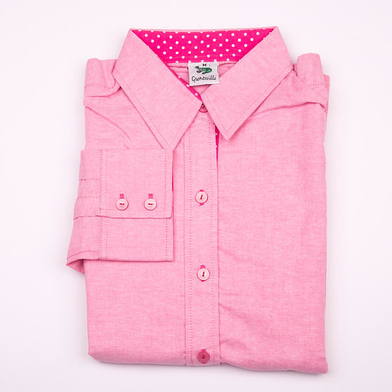 Dark pink oxford cotton with cerise with white polka dot detail inserts relaxed fit shirt_Folded