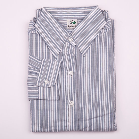 Grey and white multi stripe seersucker long sleeve relaxed fit shirt_Folded