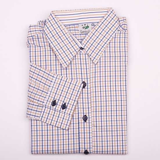 Blue and yellow tattersall check easy care relaxed fit shirt_Folded