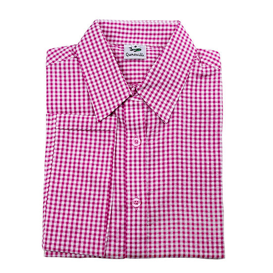 Ladies dark pink check seersucker 3/4 sleeve shirt