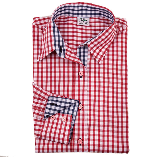 Ladies red & white checked shirt  - Relaxed fit - 2282 red check