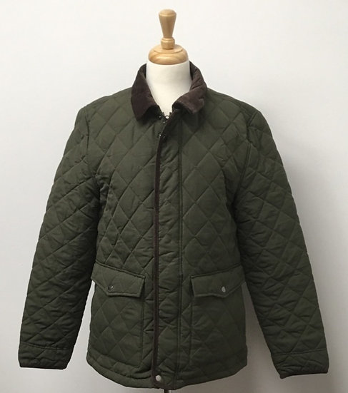 Mens Olive Quilted Jacket - with corduroy trim