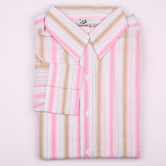Beige, pink and white stripe seersucker long sleeve relaxed fit shirt_Folded
