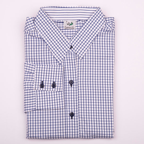 Navy and white check relaxed fit shirt