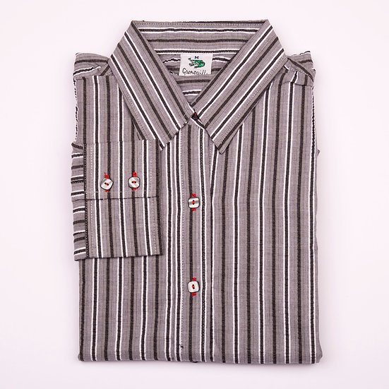 Black, grey and silver stripe seersucker long sleeve relaxed fit shirt_Folded