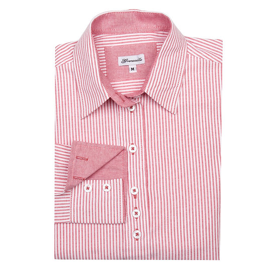 Ladies Grenouille pink/red striped Oxford shirt  - Relaxed fit