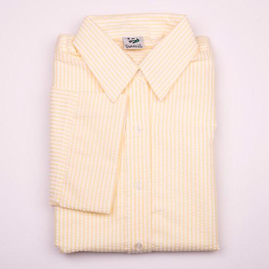Lemon and white stripe seersucker 3/4 sleeve relaxed fit shirt_Folded