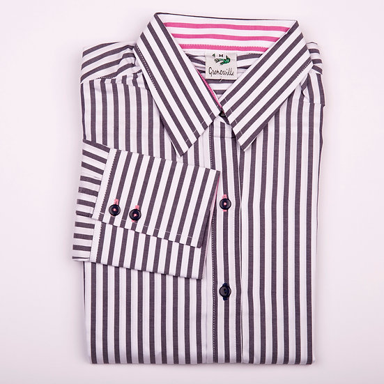 Grey navy and white twill with pink stripe insert long sleeve relaxed fit shirt_Folded
