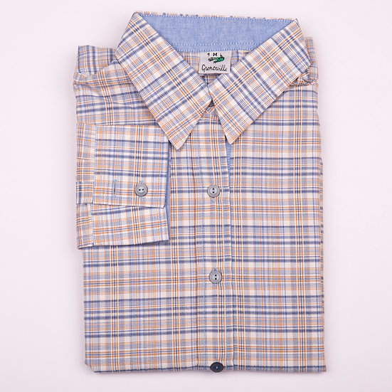 Mustard and blue check with blue oxford insert long sleeve relaxed fit shirt_Folded