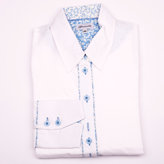 White oxford with blue and white flower insert detail shaped fit shirt_Folded
