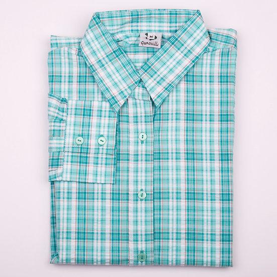 Mint check seersucker long sleeve relaxed fit shirt_Folded