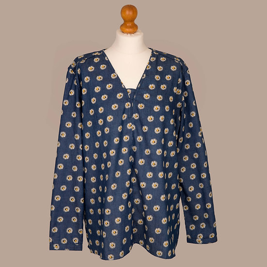 Ladies Grenouille, Denim, daisy print.  V NECK TUNIC
