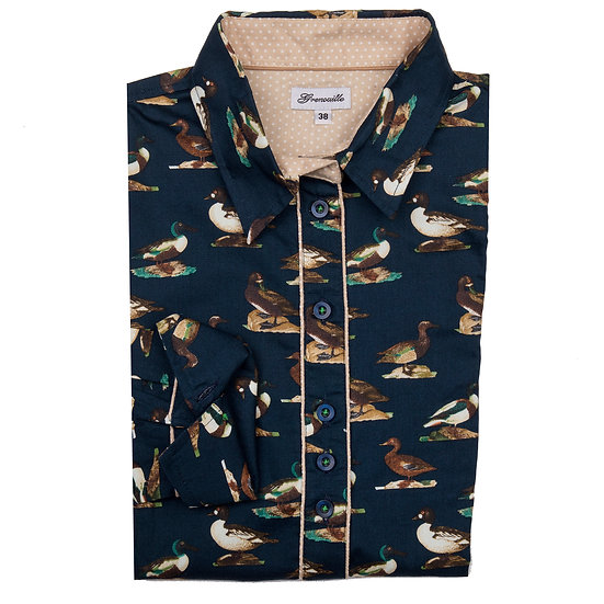 Ladies Navy Duck Shirt - Shaped Fitted Shirt - DCK/N