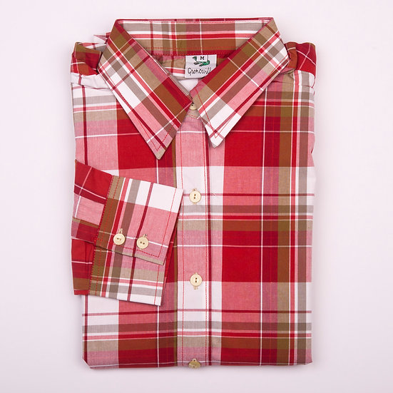 Red and white check easy care relaxed fit shirt_Folded