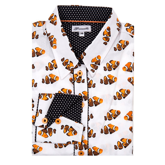 Ladies Colourful Clown Fish - Shaped Fitted Shirt - FSH/1