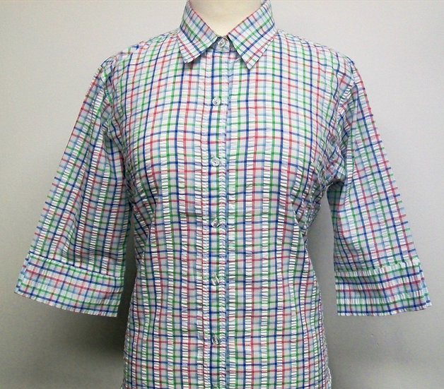 Ladies Green, Blue and Red Check Seersucker - 3/4 Sleeve Relaxed Fit