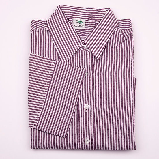 Purple and white stripe seersucker 3/4 sleeve relaxed fit shirt_Folded