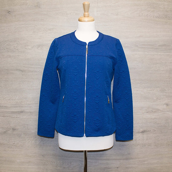 Ladies Grenouille Zipped Jacquard Jacket - True Blue