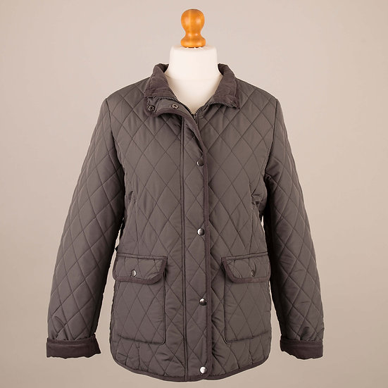 Charcoal grey with grey corduroy trim lady's quilted jacket