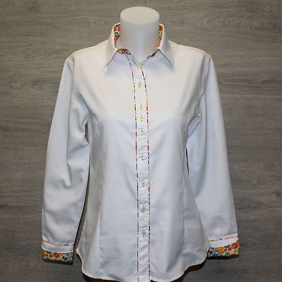 Ladies white shirt with button inserts - shaped fit