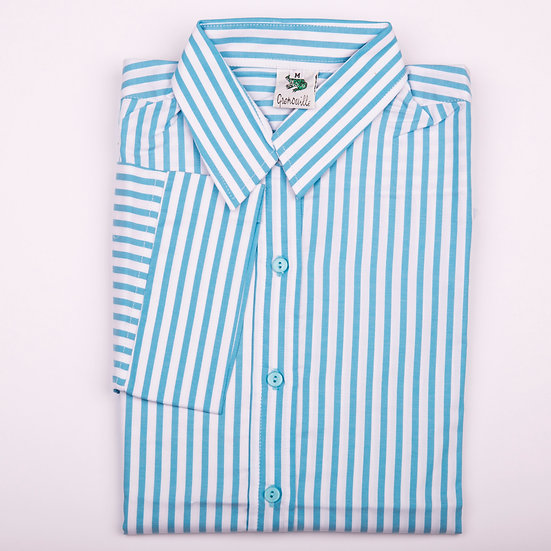 Turquoise blue and white stripe twill 3/4 sleeve relaxed fit shirt_Folded