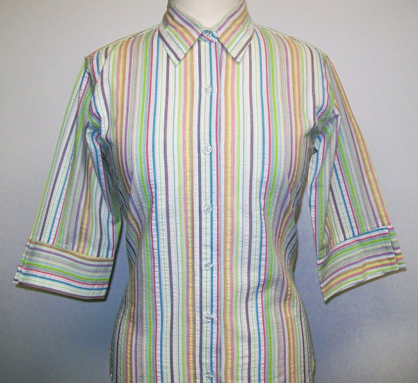Ladies Multi Coloured Stripe Seersucker - 3/4 Sleeve Relaxed Fit - small